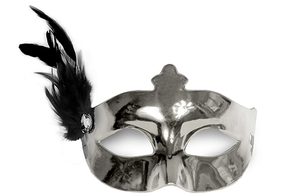 "Party Mask - silver ""feather"""