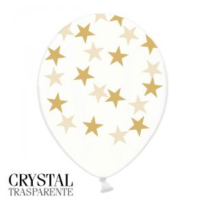 6 PALLONCINI CRYSTAL - STELLE ORO - 30 cm
